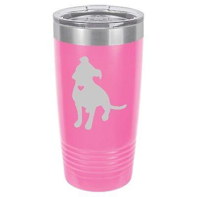 Tumbler 20oz 30oz Travel Mug Cup Vacuum Insulated Cute Pitbull w/ Heart - Cute Tumbler Cups