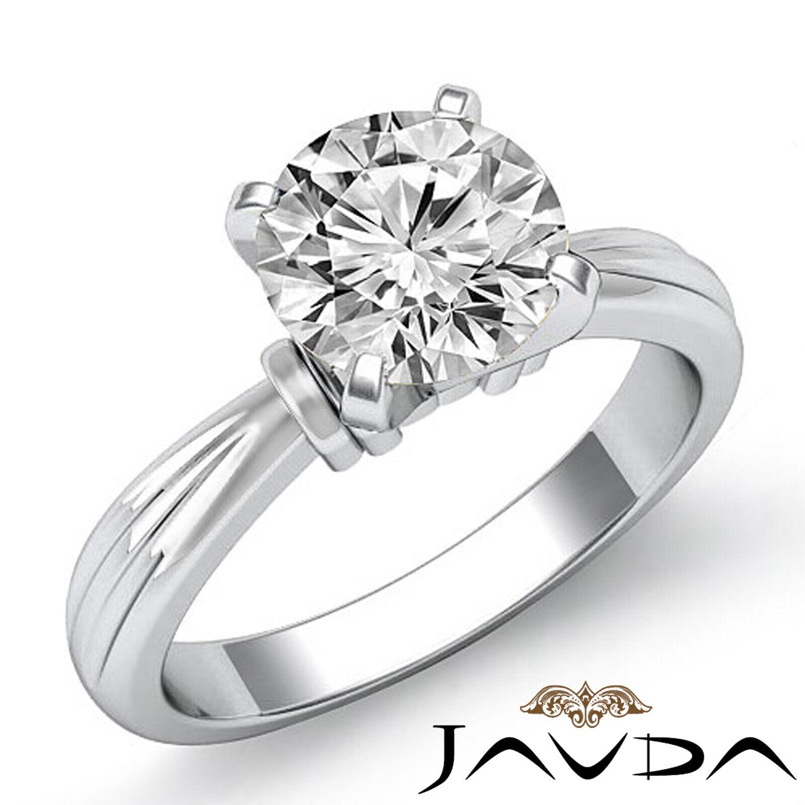 Round Solitaire Natural GIA H Color VVS2 Diamond Women's Engagement Ring 1 ctw.