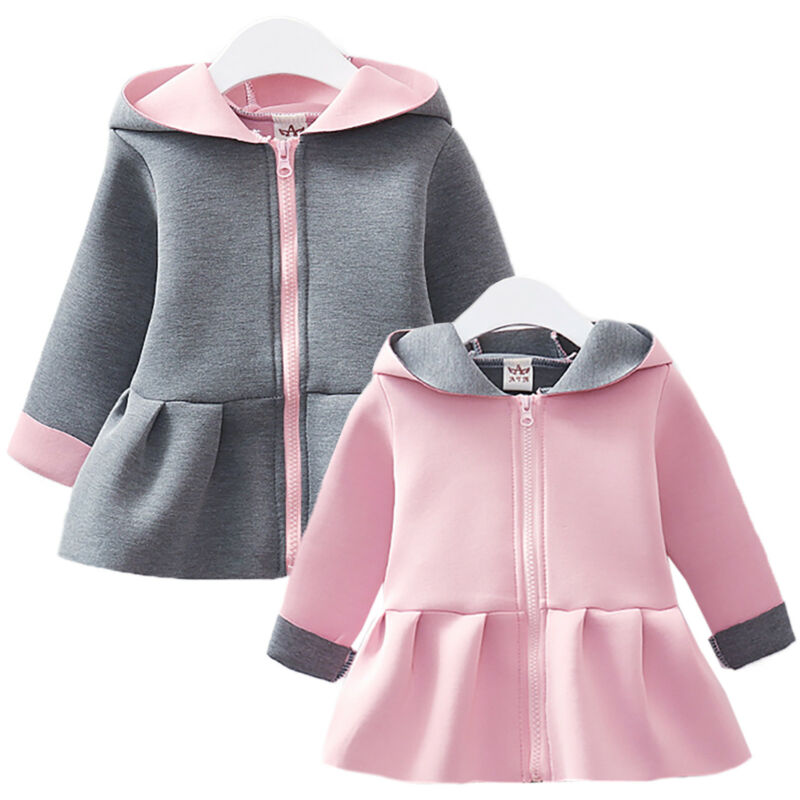Kinder Baby Mädchen Mantel Jacke Hase Ohren Zipper Kapuzen Wintermantel Outwear