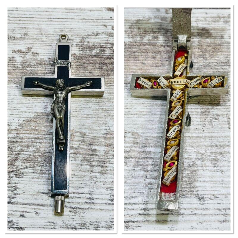Reliquary Relic Germany CROSS OF JESUS WITH 11 SAINT RELICARIO SHRINE RELIQUIE