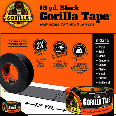 Black Gorilla Duct Tape Roll 1.88 X 12 Yd Tough Wide Waterproof Adhesive Cloth