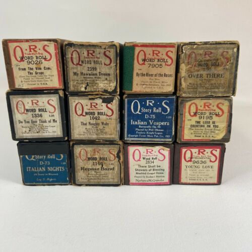 QRS Vintage Player Piano Rolls Lot of 12