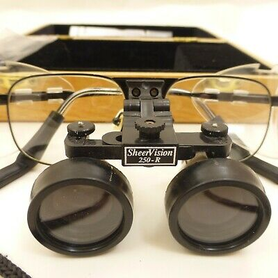 Sheervision 250-r Dental Surgical Loupes W Original Wooden Case Shields