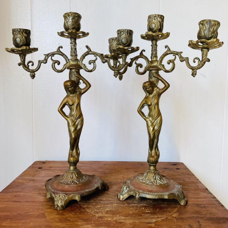 Vintage Brass Bronze Figural Candelabra Art Nouveau Deco Lady Candlesticks