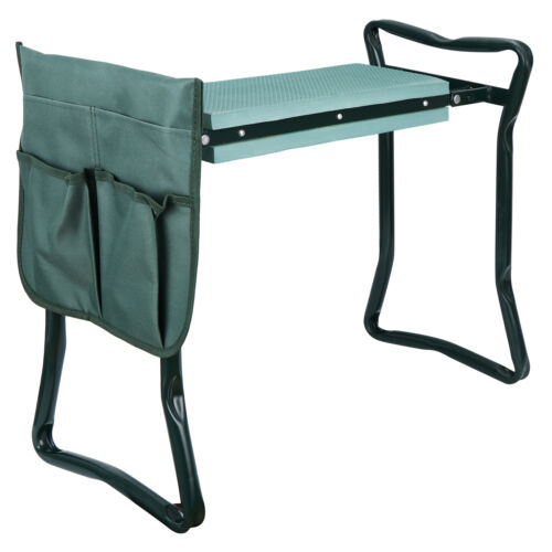 Foldable Kneeler Garden Bench Stool Soft Cushion Seat Pad Kneeling  w Tool Pouch Garden Clothing & Protective Gear