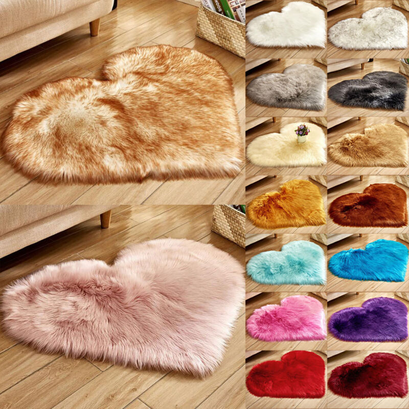 Faux Fur Area Rug Fluffy Mat Pad Room Sofa Bed Heart Shaped