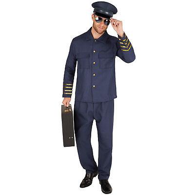 Herrenkostüm Pilot Piloten Kostüm Flugbegleiter Kapitän Uniform Flieger Fasching
