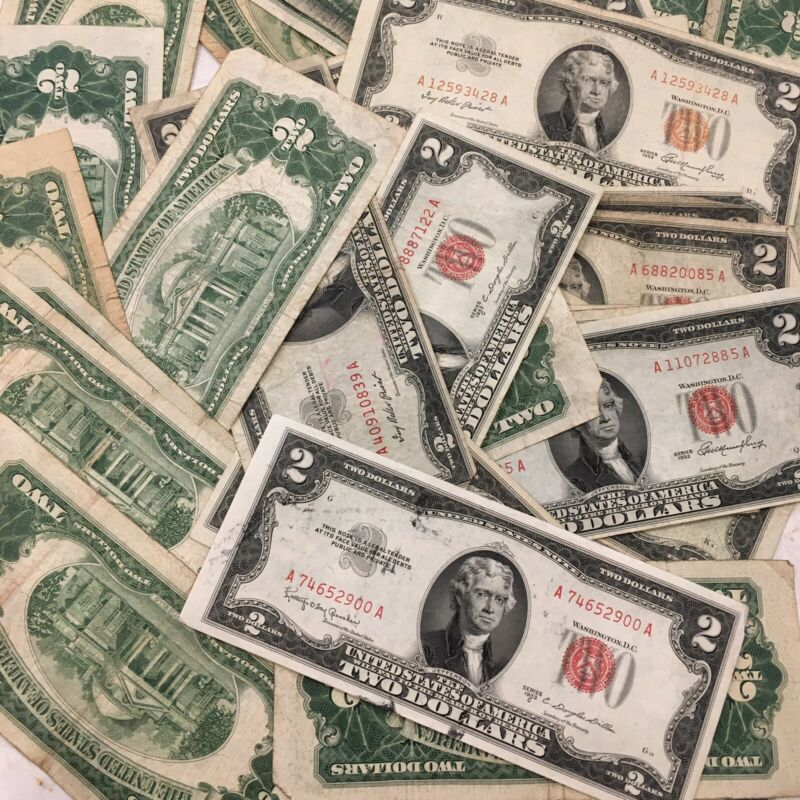 (1) $2 Red Seal Jefferson Dollar ☆Silver Certificate Old Estate Money 1953 1963
