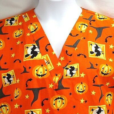Scrub Top Large Halloween Orange Hub-A-Dub-Scrubs Bat Witch Pumpkin Nurse CNA](Halloween Dub)