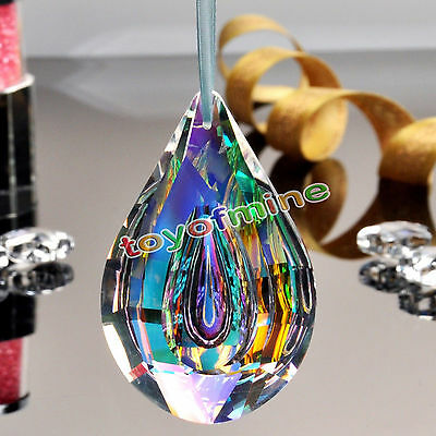 Colorful Chandelier Glass Crystals Lamp Prisms Parts Hanging Drops Pendants 76Mm
