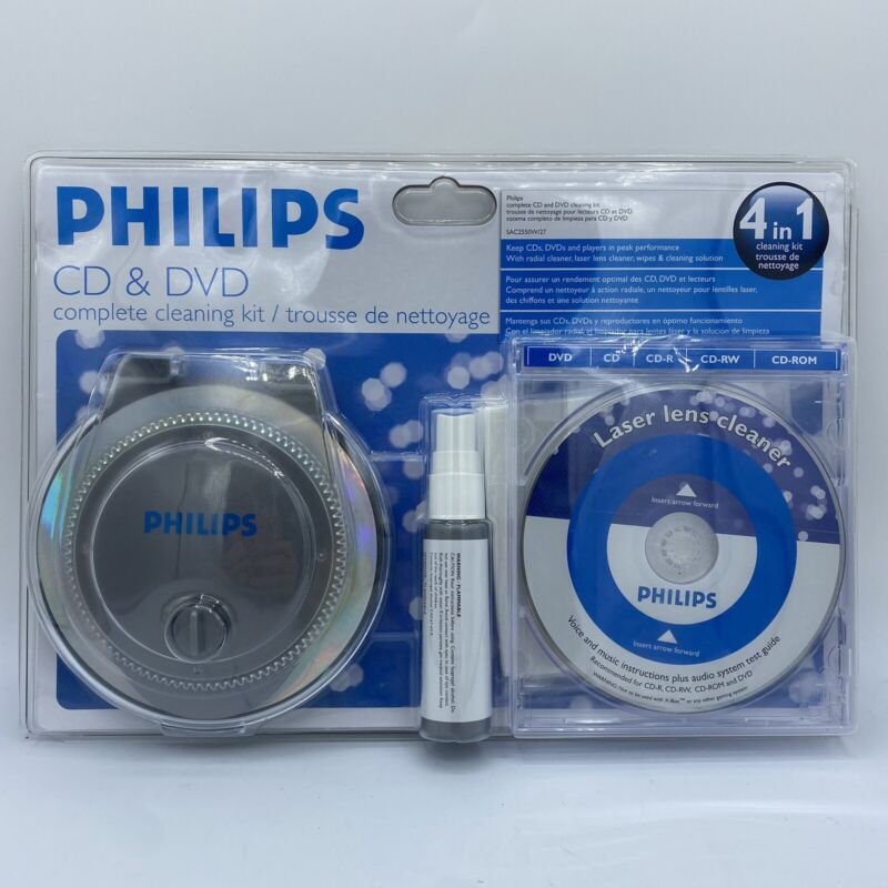 Philips CD & DVD 4 In 1 Complete Disk Laser Lens Cleaning Cleaner Kit System NEW