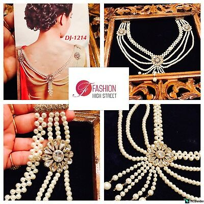 INDIAN Pakistani Bridal Blouse Brooch Gold, Clear & Pearl , Saree Brooch,