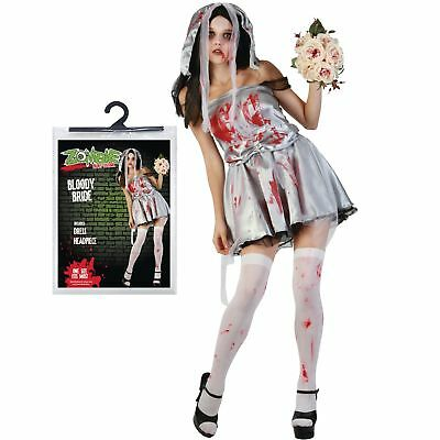 Halloween One Size Ladies Bloody Zombie Bride Fancy Dress Costume Party - Bloody Bride Halloween Costume