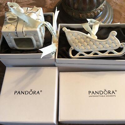 Pandora Christmas Ornaments Sleigh 2014 and Christmas Present 2016 Set of 2