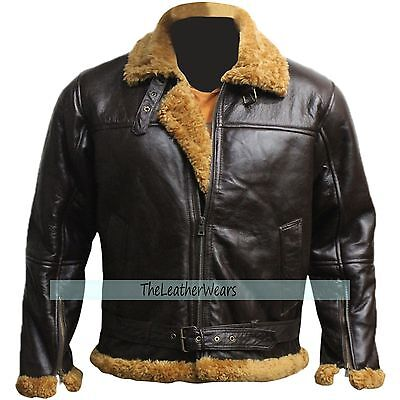 B3 Ginger jacket Real Sheepskin Bomber Leather Jacket - Dark BROWN - All Sizes