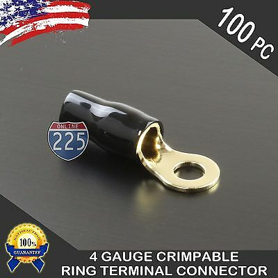 4 Gauge Gold Ring Terminals AWG Wire Crimp Cable Black Boots- 5/16 Stud 100pc Crimpable Ring Terminals