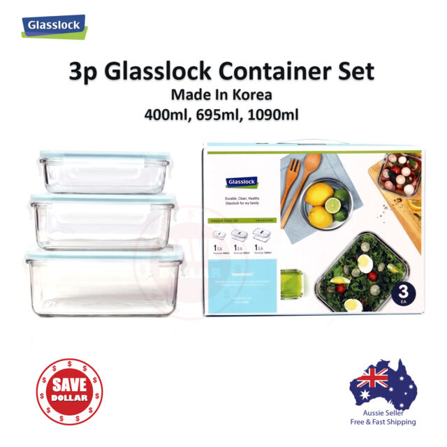 Gllock 3p Tempered Gl Food Container Storage Microwave Safe Gift Set