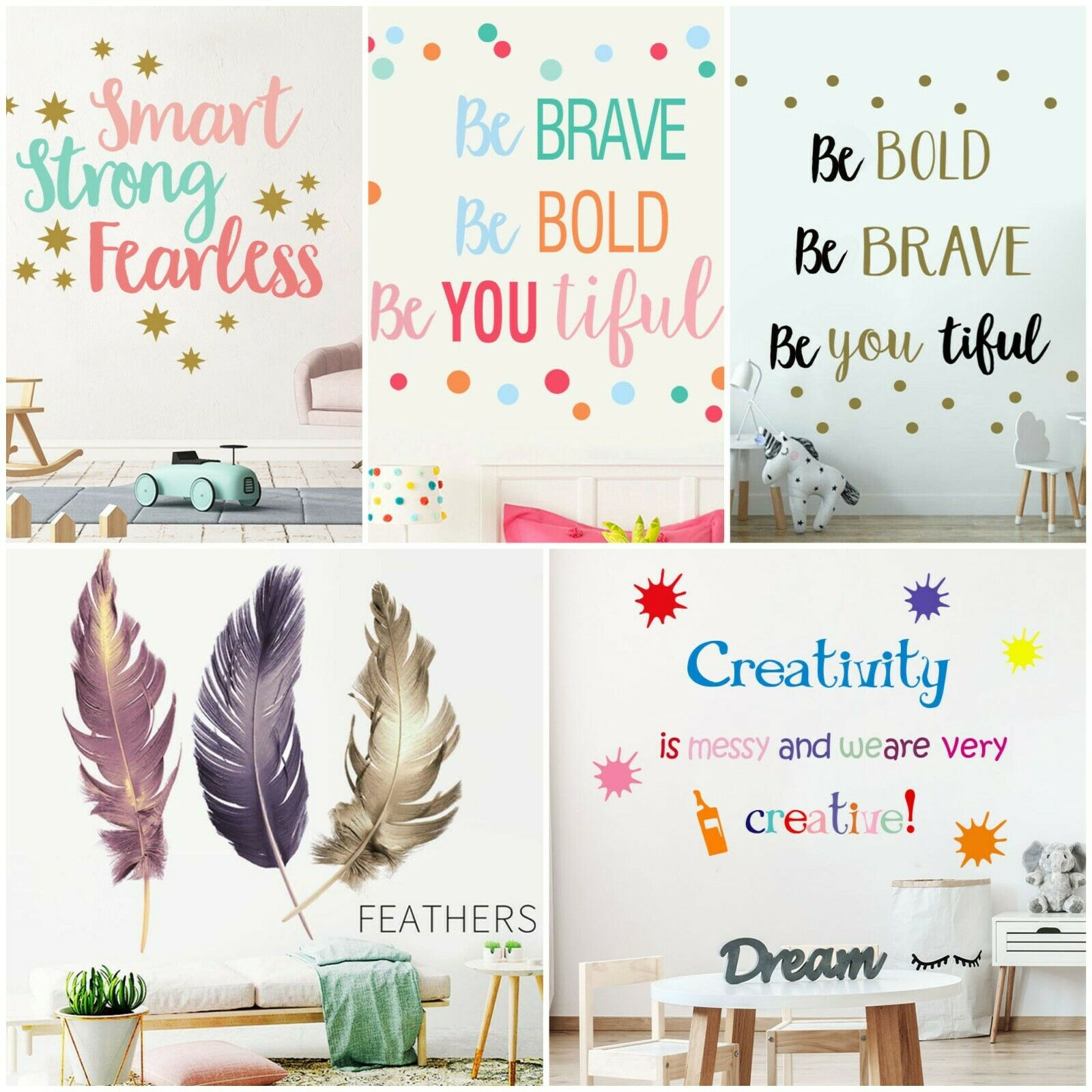 Home Decoration - Quotes Wall Stickers Family Decal Boho Feathers Colorful Mural Home Decor Vinyl