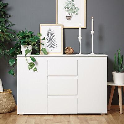 Sideboard Blanc 4 grifflose Kommode Anrichte Schrank weiß 2-türig 120x80 cm (Kommode 4 Griffe)