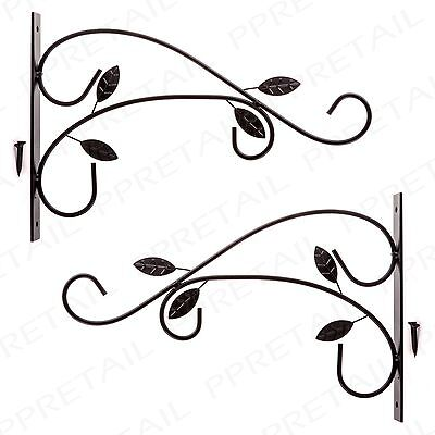 2x BLACK METAL DECORATIVE HANGING BASKET HOOK Garden/Patio Flower Wall Bracket