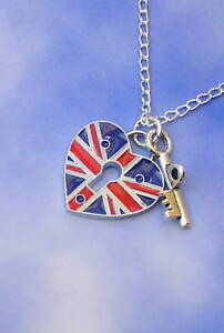 KEY TO MY HEART LOVE NECKLACE UNION JACK RED WHITE BLUE 18