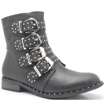 Hunter Womens Flats Low Heels Studded Ankle Boots Ladies Ribbon Biker Shoes Size (Hunter Boots Flats)