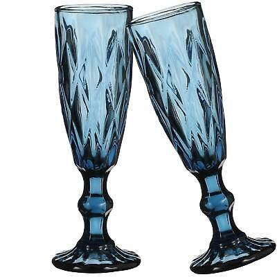 Boulogne Sektglas blau - h 20 x Ø 6 cm - 2 Stück - Champagnerglas - Wasserglas