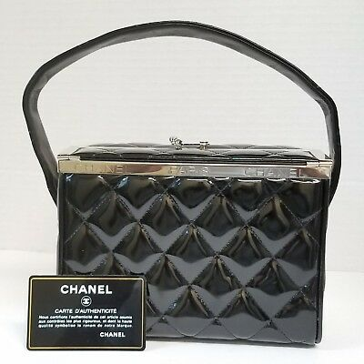 Chanel Vanity Hand Shoulder Box Bag Rare Vintage Quilted Purse Authenticity Card