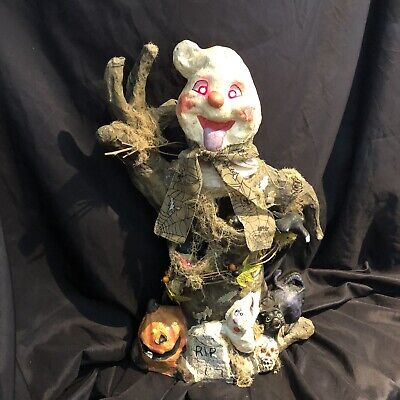 New Motion Activated Large Halloween lighted animated decor paper mache 18""