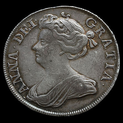 1713 Queen Anne Early Milled Silver Half Crown – VF