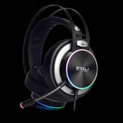 ZIDLI Pro Gaming Headset With Rainbow Lights For PS5&4/Xbox/Nintendo Switch/PC