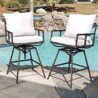 Home Northrup Pipe Outdoor Adjustable Bar stool Cushions Set 2 Black Copper Seat (2 Seat Outdoor Bar)