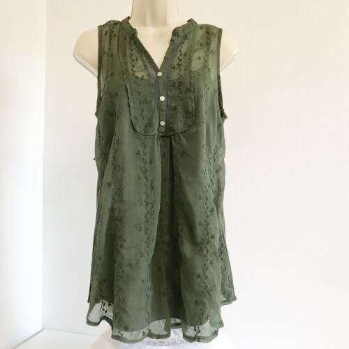 Motherhood Maternity Womens Top S Green Sheer Lined Embroidered Floral Sleeveles
