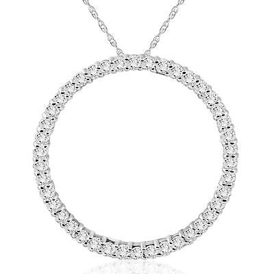 1 Ct Real Diamond Circle Of Life Eternity Round Pendant 14K White Gold 14k Gold Diamond Circle Pendant
