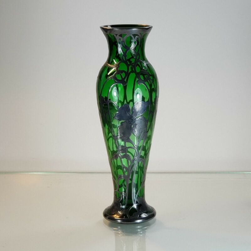 """Art Nouveau 10.25"""" Electric Green glass vase with silver overlay Alvin style"""