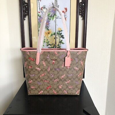 NWT COACH City Tote In Signature Canvas With Candy Print C2534