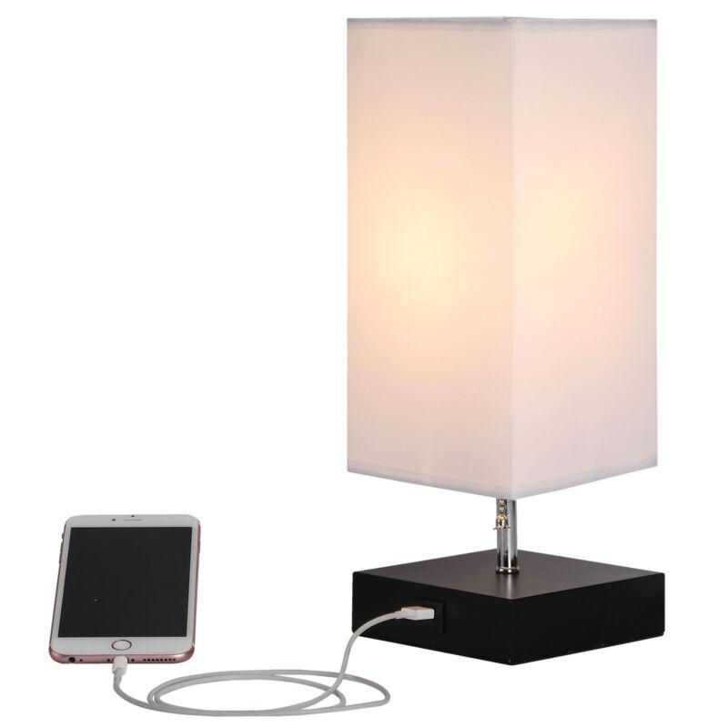 Minimalist Bedside Table Lamp USB Charger Port Bedroom Night