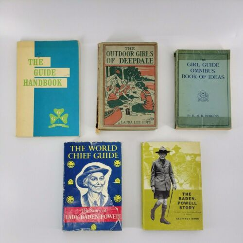 Vintage Girl Guide Handbook Scout Book Lot of 5 Scouts Baden-Powel Outdoors