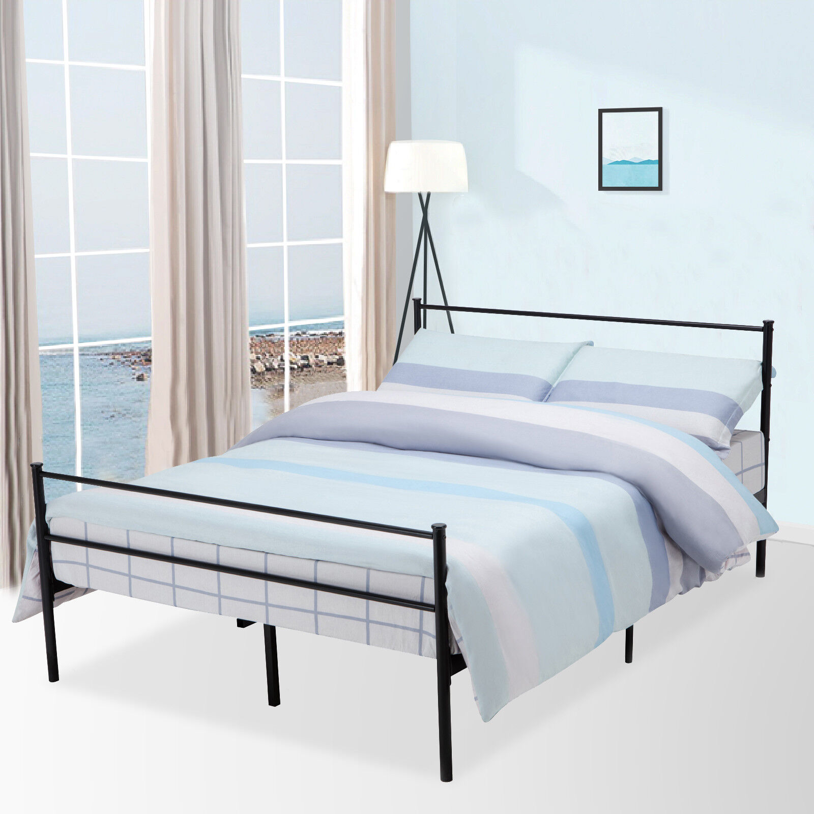uk availability 62cd0 0fc3c Details about Queen Size Metal Bed Frame Platform Headboards 6 Leg with  Memory Foam Mattress