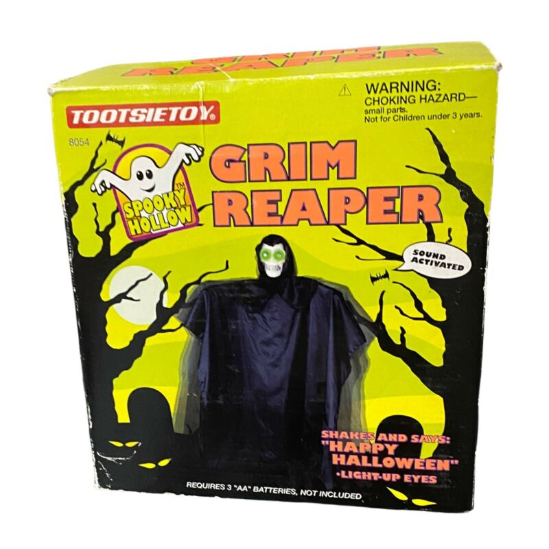 VTG Tootsietoy Grim Reaper Halloween Talking Shaking Ghost Sound Activate Lights