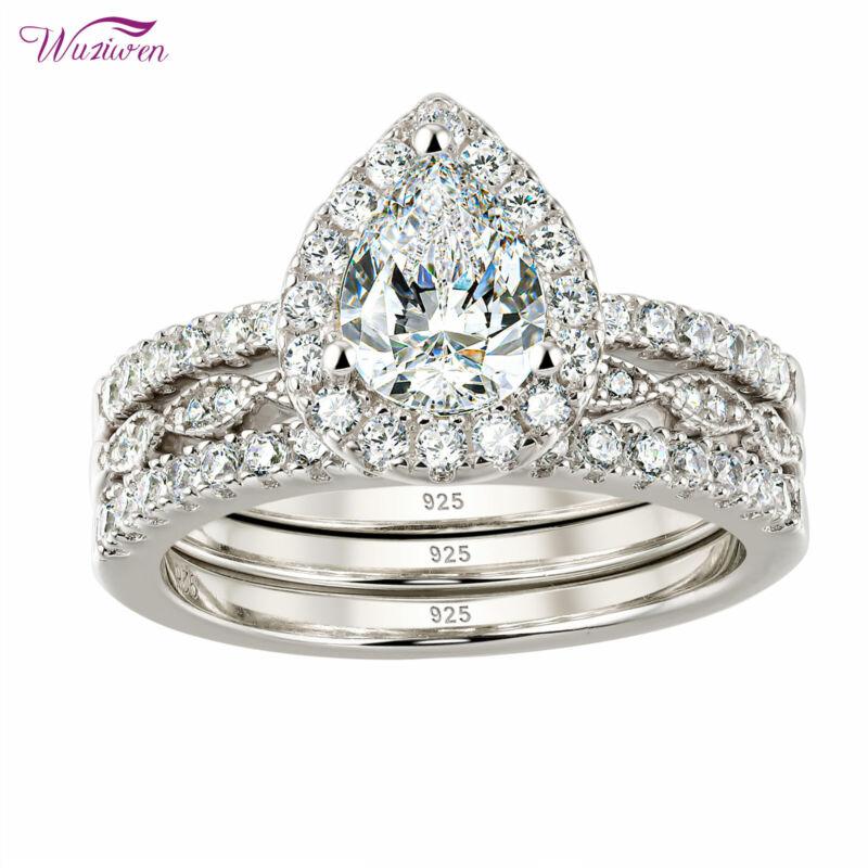 Wuziwen Wedding Engagement Ring Set Women 2.5ct Pear Aaaa Cz 925 Sterling Silver