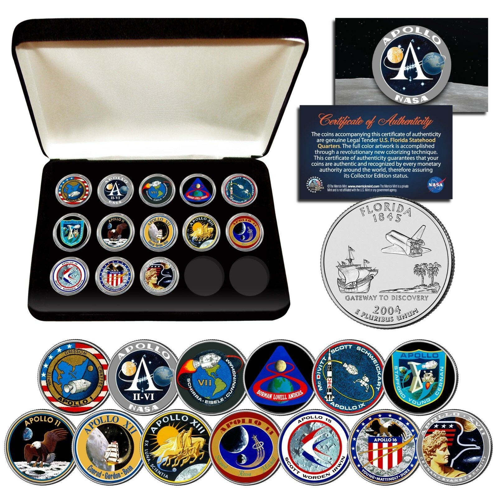 APOLLO SPACE MISSIONS Flordia Quarters 13-Coin Complete Set NASA PROGRAM w/ BOX