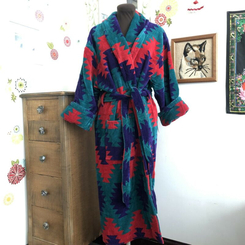 Vtg Southwestern Bathrobe Terrycloth Robe Aztec Design 1980s Purple Red Green