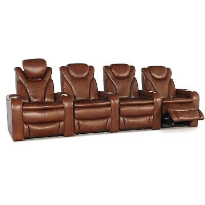 Barcalounger Solaris Brown Leather Home Theater Seating Chairs Recliner Row of 4 4 Brown Leather Chairs
