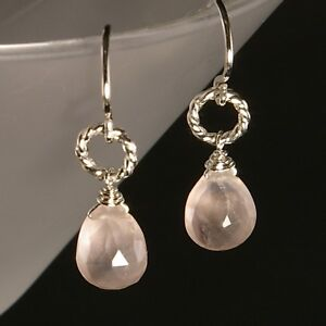 ae5bc2eb7 Beautiful Genuine Pink Rose Quartz Dangle Drop Silver Ring Handmade Earrings  NEW