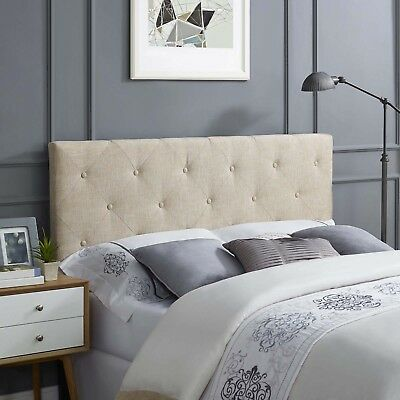 Bedroom Furniture Tufted Beige Fabric Upholstered Square King Headboard