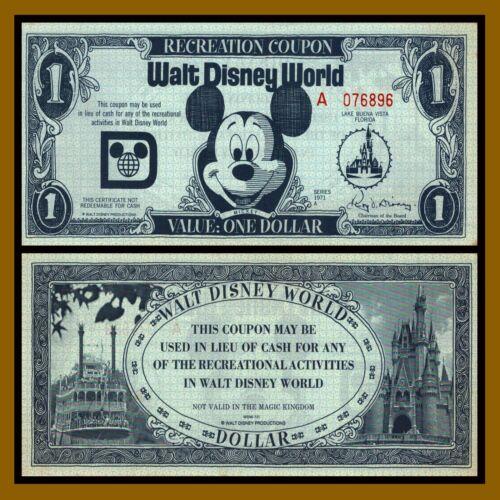 "Disney 1 Dollar (Recreation Coupon), 1971 ""A"" Series (Disney World) Florida (AU)"