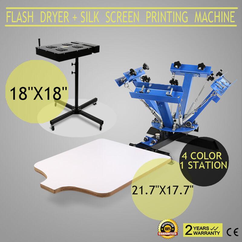 "4 Color 1 Station Silk Screen Printing Machine & 18"" X 18"" Flash Dryer Drying HQ"