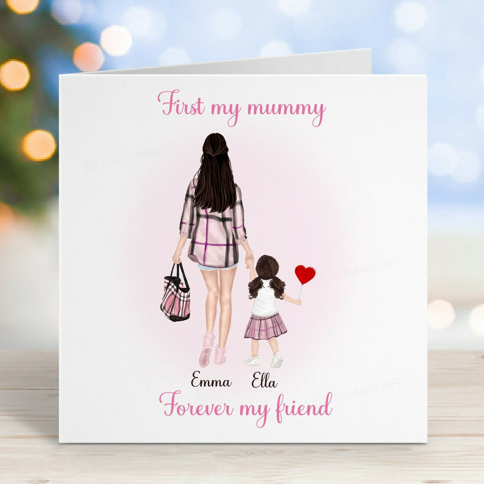 Personalised Mother and Daughter Cute Mothers Day Card / Birthday, First a Mummy