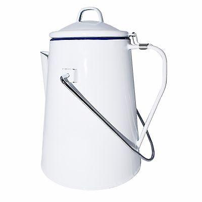Strider Emaille Kaffee Kanne 2 L Henkelkanne Teekanne mit Perkolator Email